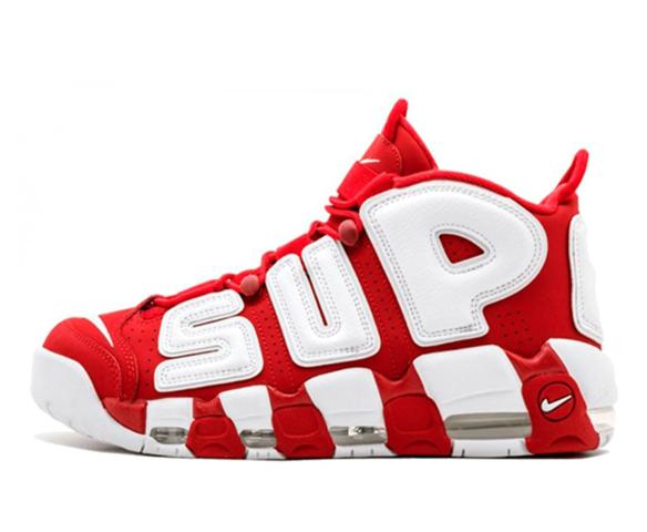 Nike Air More Uptempo Supreme красные с белым