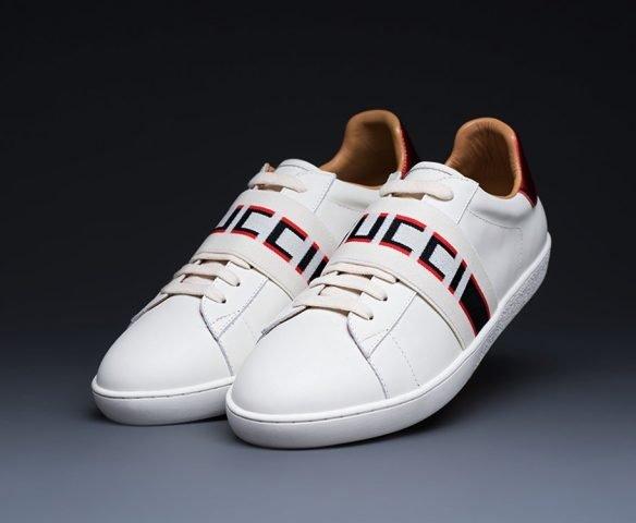 Gucci Stripe Leather белые
