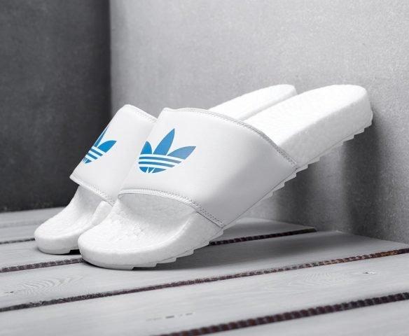 Сланцы Adidas белые с синим