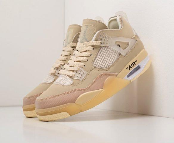 Nike x OFF White Air Jordan 4 Retro бежевые