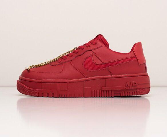 Nike Air Force 1 Pixel Low красные. Вид 2