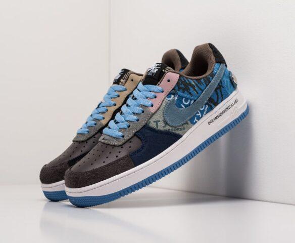 Nike x Travis Scott Air Force 1 Low синие. Вид 1