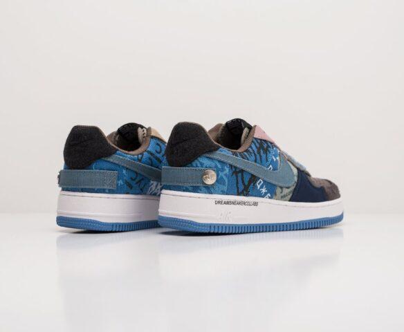 Nike x Travis Scott Air Force 1 Low синие. Вид 3